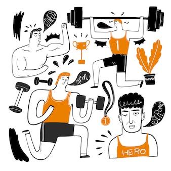 O conjunto de exercícios de personagens