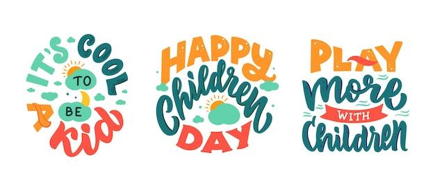 O conjunto de frases da rotulação retrô é sobre o dia da criança feliz.