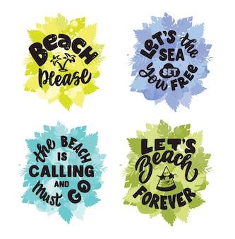 O conjunto de frases de letras sobre verão e praia, por favor. a citação vintage e dizer com folhas é bom