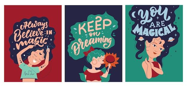 O conjunto de garotas de desenhos animados a coleção de mulheres com citações mágicas para projetos de meninas e mulheres