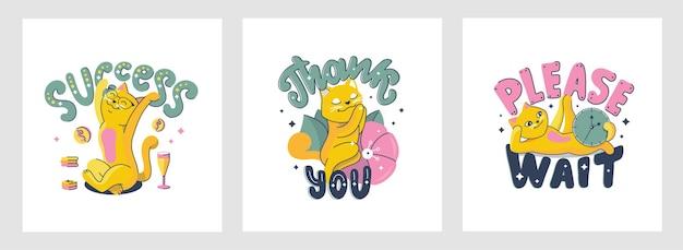 O conjunto de gatos com uma frase popular de letras