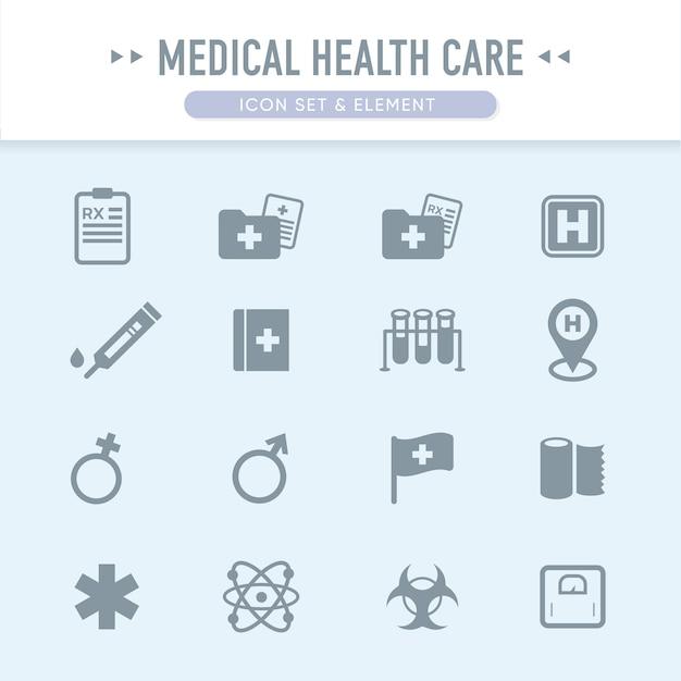 O conjunto de ícones de cuidados de saúde médicos