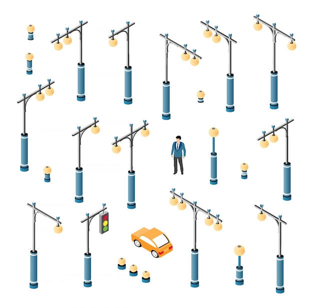 O conjunto de iluminação da rua