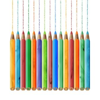 O conjunto de lápis de cor de madeira