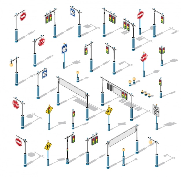 O conjunto de luz de rua isométrica semaphore