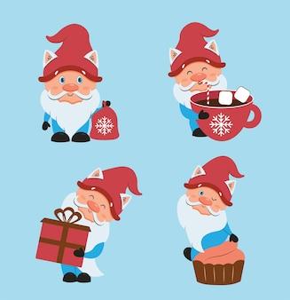 O conjunto de natal com gnomos de inverno a coleção de personagens de desenhos animados para designs de festas felizes