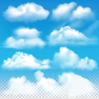 O conjunto de nuvens de vetor realistas