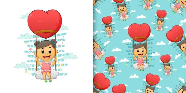 O conjunto de padrão desenhado à mão da menina sentada na nuvem no balão de coração flutuante da ilustração