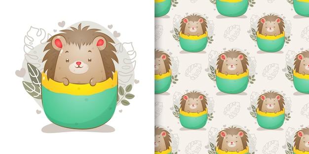 O conjunto de padrão sem emenda do porco-espinho sai da xícara de chá da ilustração