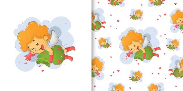 O conjunto de padrões sem emenda do cupido espalhando o amor no doodle da ilustração