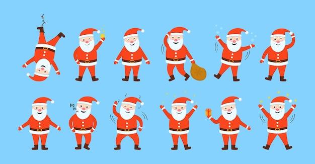 O conjunto de papais noéis está pronto para o ano novo e o natal. personagens de desenhos animados.