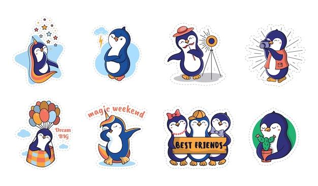 O conjunto de pinguins engraçados.