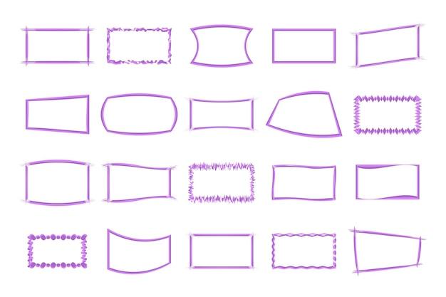O conjunto de quadros isolado no fundo branco em vetor.