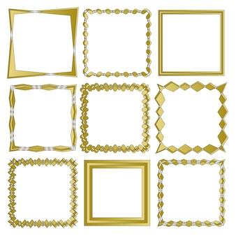 O conjunto de quadros isolado no fundo branco no vetor eps 10