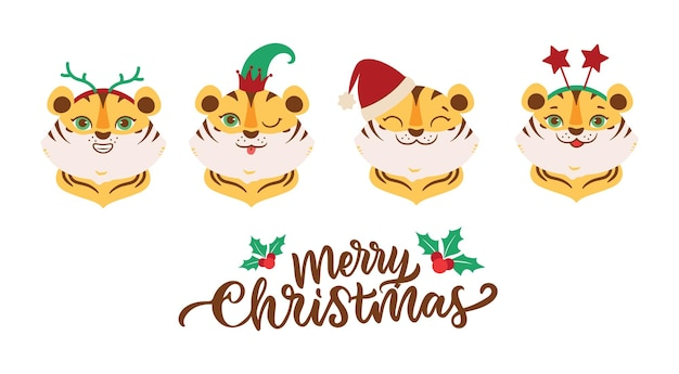 O conjunto de tigres com cara é bom para designs de feliz natal. as cabeças de animais de desenho animado