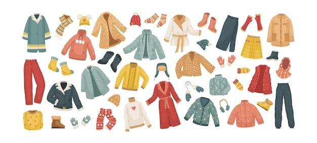 O conjunto de vetores de roupas de inverno. casacos, chapéus, luvas, sapatos e meias.
