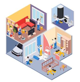 O conserto de reforma funciona, composição isométrica com vista de perfil de salas de residências com ilustração de grupo de limpeza