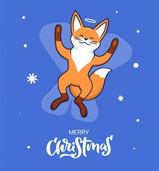 O conteúdo é uma raposa feliz fazendo um anjo da neve.