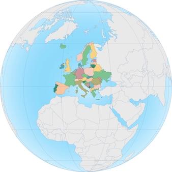 O continente europeu é dividido por país na globe