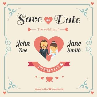 O convite bonito do casamento com coração