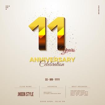 O convite do 11º aniversário com ouro brilhante
