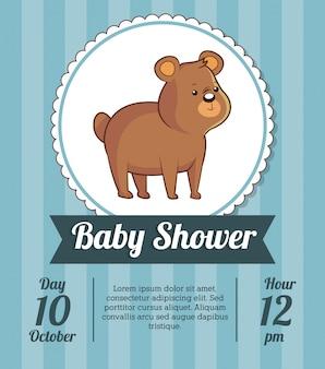 O convite do cartão da festa do bebé economiza data com o urso bonito