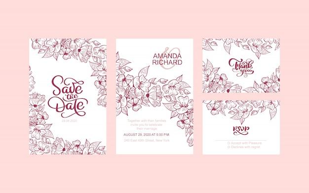 O convite do casamento, floral convida economias a data, obrigado, cartão moderno do rsvp