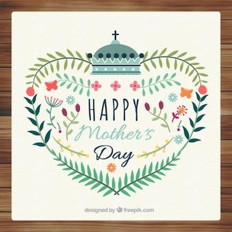 O coração bonito feito de folhas de cartão de dia das mães