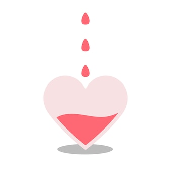 O coração se enche de sangue. as gotas estão caindo. o conceito de doação de sangue. laboratório médico, assistência, tratamento, doador, voluntário. fator de rh. ilustração em vetor plana em um fundo branco