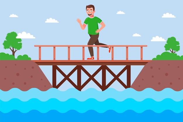 O corredor masculino cruza o rio sobre uma ponte de madeira. plano