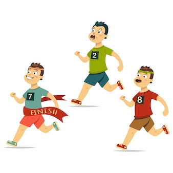 O corredor vencedor cruza a linha de chegada com outros atletas atrás.