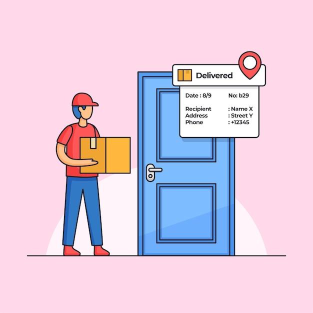 O correio de entrega de pacotes carregando a caixa de pedido chegou à porta da frente do cliente ilustração dos desenhos animados