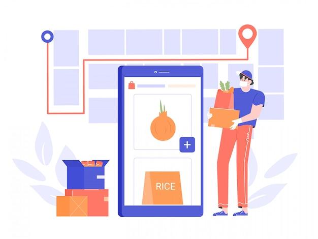 O correio em uma máscara médica entrega alimentos e mercadorias durante a quarentena. proteção contra a propagação do vírus. encomende produtos on-line através do aplicativo móvel. ilustração plana.