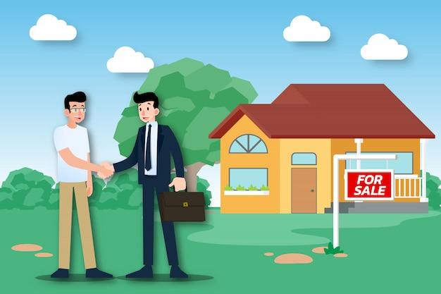 O corretor de imóveis vende uma casa com sucesso.