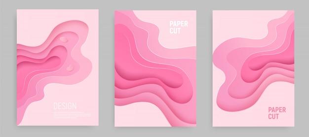 O corte cor-de-rosa do papel ajustou-se com fundo abstrato do lodo 3d e camadas cor-de-rosa das ondas. projeto de layout abstrato.