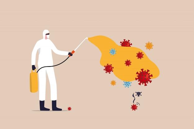 O covid-19 coronavirus desinfecta, limpa e mata o patógeno do vírus, evita o conceito de disseminação de surtos, trabalhador com equipamento de proteção pulveriza o produto higienizador de limpeza para desinfetar o patógeno do vírus covid-19