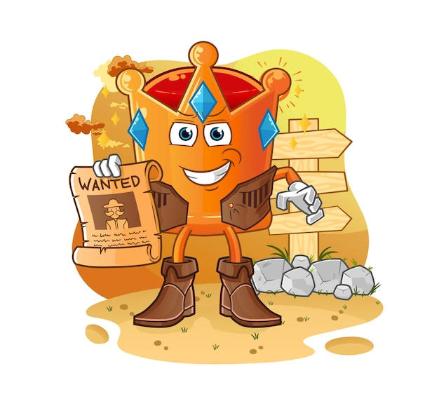 O cowboy da coroa com papel procurado. mascote dos desenhos animados