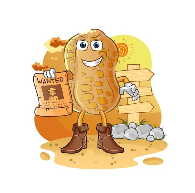 O cowboy de amendoim com papel procurado. mascote dos desenhos animados