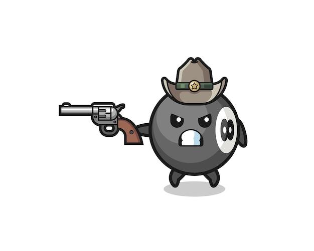 O cowboy de bilhar atirando com uma arma, design fofo