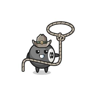 O cowboy de bilhar com corda de laço, design fofo