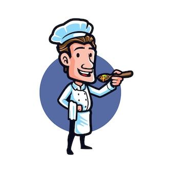 O cozinheiro chefe dos desenhos animados tenta a sopa