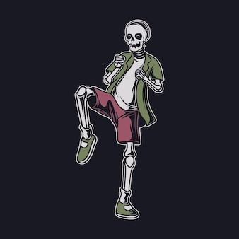 O crânio com design de camiseta vintage se prepara para atacar com a perna direita levantada ilustração de caratê
