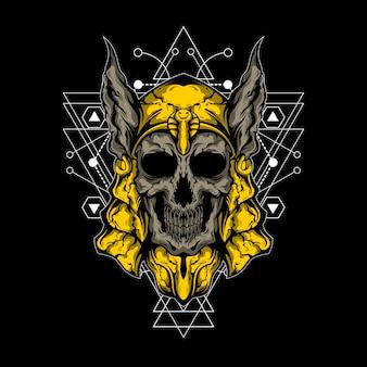 O crânio da ilustração do deus egípcio