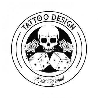 O crânio da tatuagem da velha escola e corta o projeto do desenho