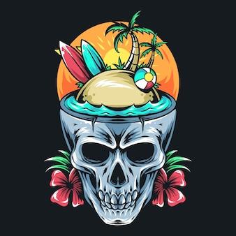 O crânio de verão contém prancha de surf, coqueiro e bola. arte design de camiseta
