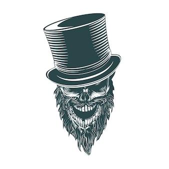 O crânio do cavalheiro no cilindro