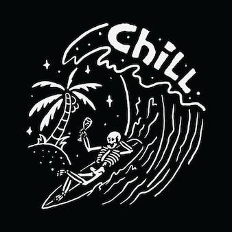 O crânio frio que surfa relaxa a arte da ilustração camiseta
