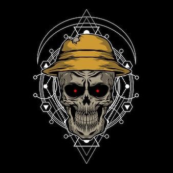 O crânio usando um chapéu