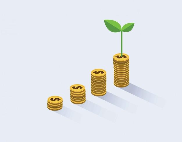 O crescimento das moedas de ouro e planta-as.
