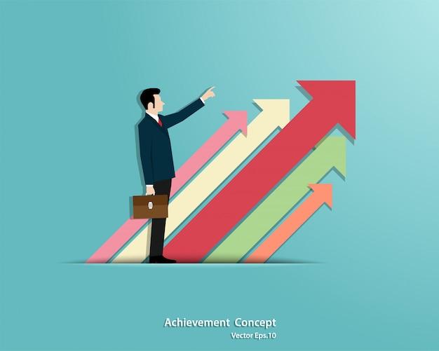 O crescimento do negócio. empresário, apontando para o alvo